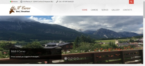 Sito web Bed & Breakfast il Cervo Cortina