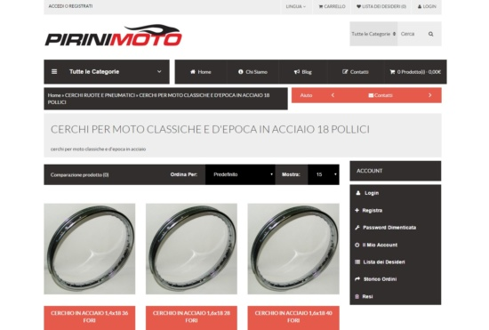 Nuovo sito E-commerce Pirinimoto.it